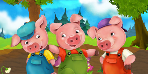 Cartoon scene three pig brothers going on a trip on a hill - illustration for children
