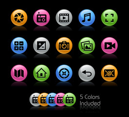 Media Interface Icons // The vector file Includes 5 color versions in different layers.