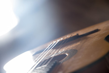 Guitar music instrument macro drammatic picture useful for background