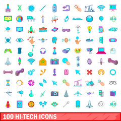 100 hi-tech icons set, cartoon style