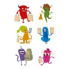 Cartoon cute monster shopping vector character illustration.