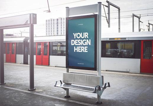 Outdoor Kiosk Advertisement Mockup 6