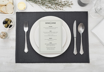 Restaurant Menu at Place Setting Mockup 1
