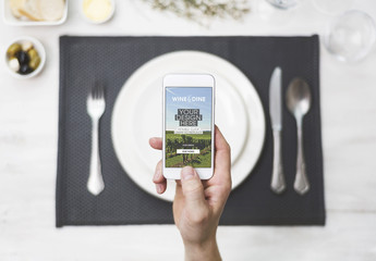 Smartphone and Restaurant Table Mockup 1