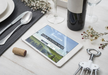 Tablet and Restaurant Table Mockup 1