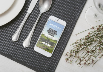 Smartphone and Restaurant Table Mockup 3
