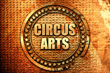 circus arts, 3D rendering, text on metal