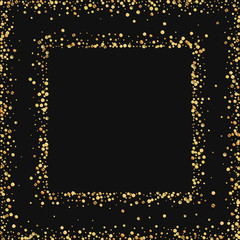 Gold confetti. Square abstract frame on black background. Vector illustration.