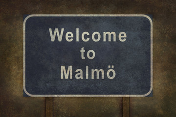 Welcome to Malmo roadside sign illustration