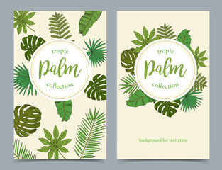 Floral tropical banners with isolated palm leafs on white backgr
