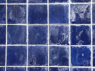 grunge old blue ceramic wall tiles background