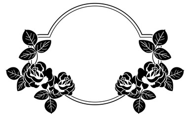 Black and white round frame with stylized roses silhouettes. Vector clip art.