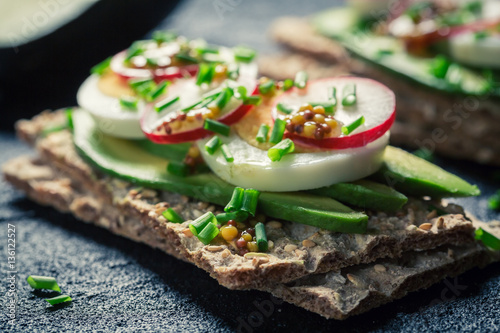 "Crisp sandwich with avocado, eggs and radish"" Stok Görseller ve ..."