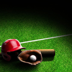 Baseball Equipment on Field With Copy Space