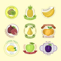 Vector fruits badges.