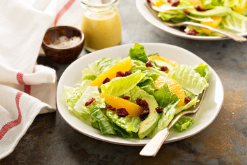 Fresh colorful salad with romaine and orange