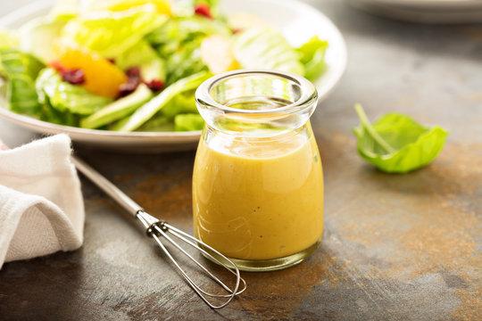 Homemade honey mustard salad dressing