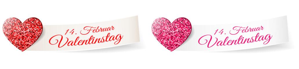 Valentinstag Glitzer Herz mit Papier