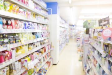 Blurred image of supermarket shelf for background uses