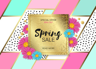 Spring Sale Design with Colorful Flowers, Vines and Leaves with Flying Butterflies in Background for Spring Seasonal Promotion. Vector Illustration