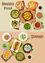 Salad and snack dishes for festive dinner icon set