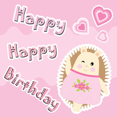 Birthday card with cute hedgehog and love shape suitable for birthday invitation card, greeting card, and postcard