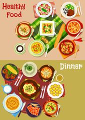 Bulgarian cuisine dishes icon set for menu design