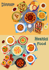 Soup and salad of world cuisine icon set design