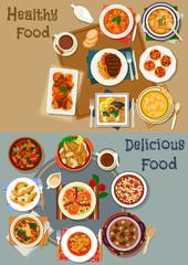 Portuguese cuisine dishes icon set for menu design