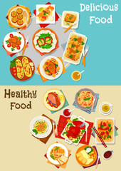 Healthy food icon set with baked dishes