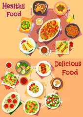 Salad and meat dishes with mexican snack icon set
