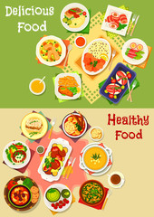 Dinner and lunch food icon set for menu design