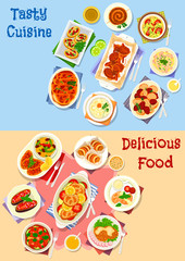 Vegetable and meat dishes icon set design