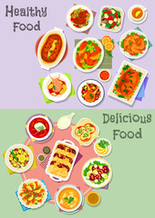 Hearty dishes icon set with fish, meat and veggies