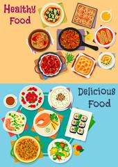 Healthy food icon set for restaurant menu design