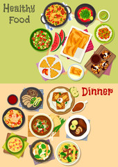 Lunch and dinner dishes icon set for food design