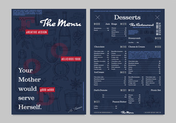 Restaurant or cafe menu vintage design template
