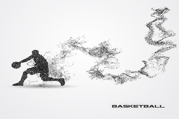 Basketball player  of a silhouette from particle