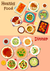 Healthy dinner dishes icon set for food design