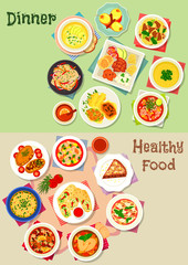 Dinner icon set for healthy food theme design