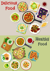 Tasty lunch icon set with salads and fruit dessert
