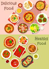 Meat dishes icon set for restaurant menu design