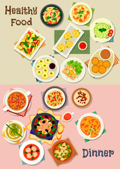 Healthy meal dishes icon set for food theme design