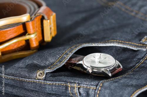 U0026quot;Wrist watch and leather belt on jeansu0026quot; Imagens e fotos de ...