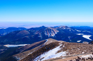 Pikes peak mountain landscape on top view, Colorado