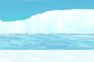 Arctic background  with iceberg  - 3D illustration