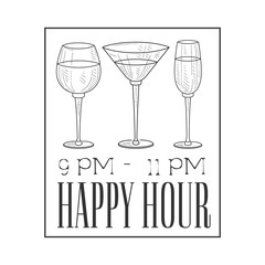 Bar Happy Hour Promotion Sign Design Template Hand Drawn Hipster Sketch With Glasses In Square Frame
