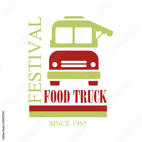 Food Truck Cafe Food Festival Promo Sign Colorful Vector