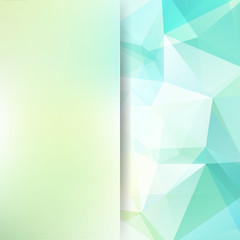 Abstract polygonal vector background. Geometric vector illustration. Creative design template. Abstract vector background for use in design. Light green, blue, white colors.