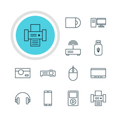 Vector Illustration Of 12 Gadget Icons. Editable Pack Of Photography, PC, Dvd Drive And Other Elements.